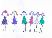 Six girls in multicolored different dresses with hearts. Child drawing vector illustration