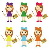 Six girls with paints in color dresses Stock Photo
