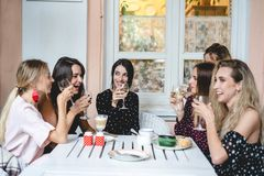Six girls at the table. Six girls with glasses of wine at the table stock image
