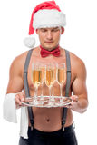 Six of glasses of champagne out of focus on the tray Royalty Free Stock Photo