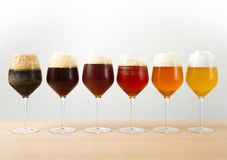 Six glasses with different beers Stock Photos