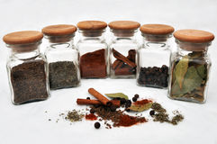 Six glasses of spice Royalty Free Stock Photos