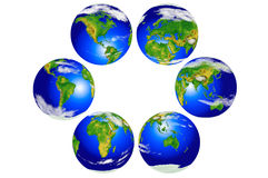 Six globes continentaux Images stock