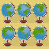 Six globes. Vector illustration of planet earth in six globes Stock Images
