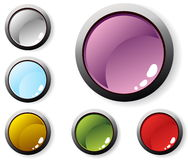 Six glossy buttons stock illustration