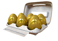 Six Golden Eggs In An Egg Carton Royalty Free Stock Image