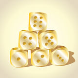 Six golden playing dices Royalty Free Stock Photo