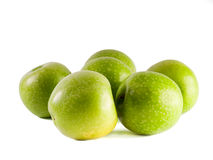 Six Granny Smith apples Stock Photography