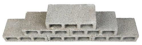 Construction Blocks Pyramid. Six gray concrete construction blocks (a.k.a. cinder block, breeze block, cement block, foundation block, besser block; professional Stock Images