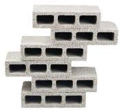 Isolated Construction Blocks - Six. Six gray concrete construction blocks (a.k.a. cinder block, breeze block, cement block, foundation block, besser block Stock Image