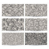 Six gray patterns. Vector hand drawn set of six abstract gray patterns Stock Photography