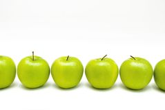 Six green apples Royalty Free Stock Photo