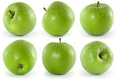 Six green apples Royalty Free Stock Images