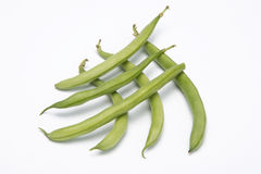 Six green beans. Green beans  on white background Stock Images