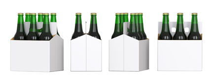 Six green beer bottles in white corton pack. Four Different views 3D render, isolated on white background. Six green beer bottles in white corton pack. Four Stock Image