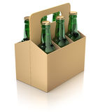 Six green bottles of beer in carton packaging Stock Image