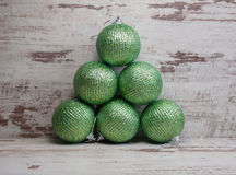 Six green christmas balls Stock Photo