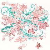 Six green lizards in a red foliage. Drawing by red and green pen Stock Photos