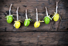Six Green And Yellow Easter Eggs With Frame Stock Image