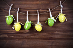 Six Green And Yellow Easter Eggs With Frame stock images