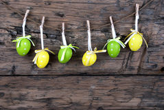 Six Green And Yellow Easter Eggs royalty free stock photo