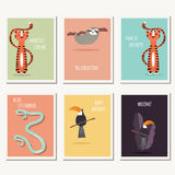 Six greeting cards with cute wild animals and text message Stock Image