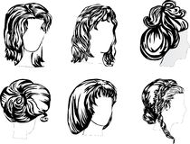 Six hairstyles Royalty Free Stock Photos