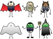 Six Halloween characters Stock Image