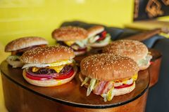 Six hamburgers différents pour la société d'amis de voyageurs de musicien Photo libre de droits