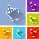 Six hand cursor icons. Illustration of six hand cursor icons Royalty Free Stock Image