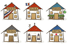 Six hand drawn houses Stock Photography
