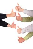 Six hands gives gesture Stock Photo