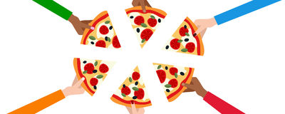 Six Hands with Slices of Pizza Banner. A banner with the hands of six friends taking a slice of pizza and having dinner together, isolated on white background royalty free illustration