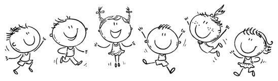 Six happy doodle kids in a row, outline stock photography