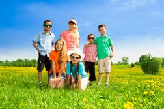 Six happy kids Royalty Free Stock Images