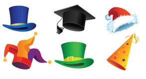 Six hats. Set of six hats for a holiday, parades, Carnival, Christmas and New Year Stock Photos