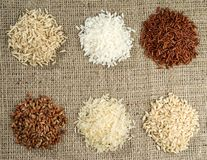 Six heaps of rice of different varieties royalty free stock photo
