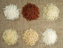 Six heaps of rice of different varieties on the background of sacking royalty free stock photos