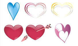 Six hearts Stock Photos