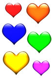 Six hearts. Six differently colored shiny hearts Vector Illustration