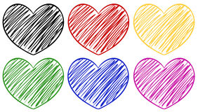 Six hearts in different colors. Illustration Stock Illustration