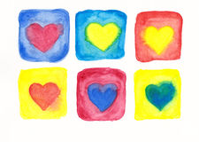 Six hearts in frames watercolor painting Royalty Free Stock Images