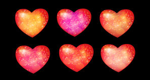 Six hearts Royalty Free Stock Photos
