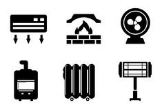 Six heat icons Royalty Free Stock Photos