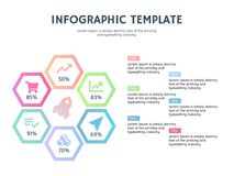 Six hexagonal element ppt and infographic template Stock Image