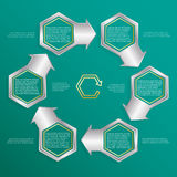 Six hexagonal frames for text or infographics. Description of the process. Metallic frames. Six hexagonal frames for text or infographics. Description of the stock illustration