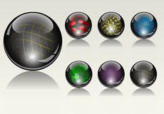 Six hi-tech crystal icon spheres Stock Images