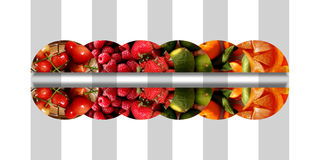 Six horizontal mirrored semicircles full of fresh fruits Royalty Free Stock Images