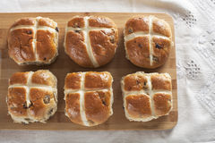 Six Hot Cross Buns Royalty Free Stock Photography