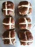 Six hot cross buns Royalty Free Stock Image